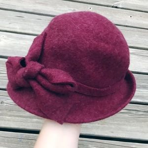 Jessica Simpson Burgundy Vintage Style Cloche Hat